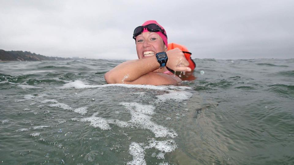 Kirstie in training for her Channel Relay